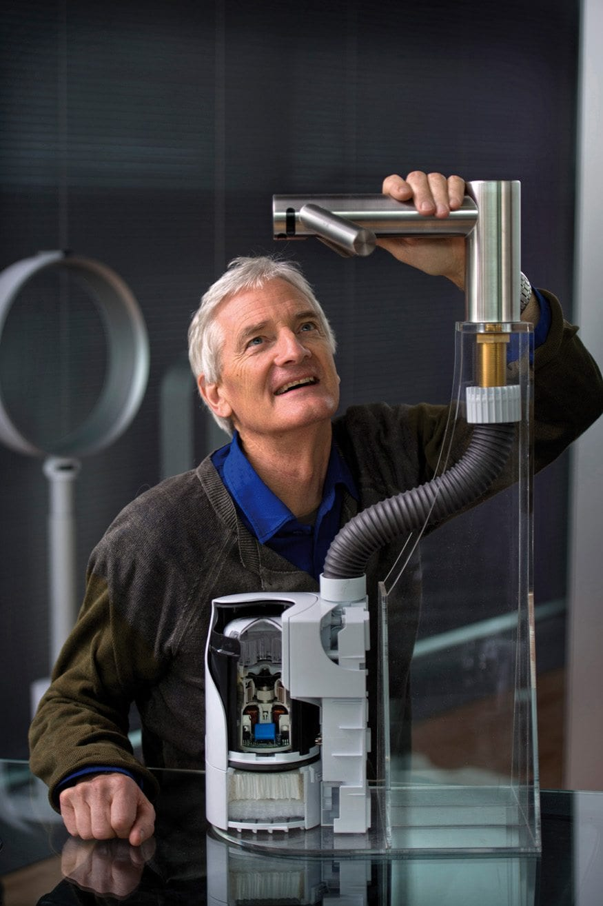 Pics - Adrian Sherratt - 07976 237651 Sir James Dyson with a cut away of the Dyson Airblade Tap - the digital motor will be used in future applications using robotic technology (5 Feb 2014).