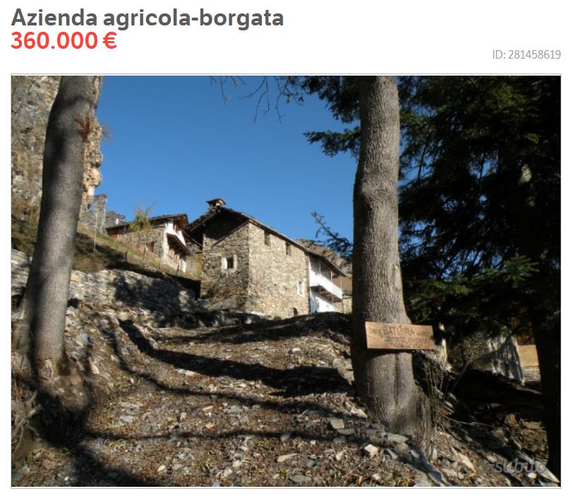Borgata alpina in vendita online costa quanto un for Quanto costa arredare un appartamento