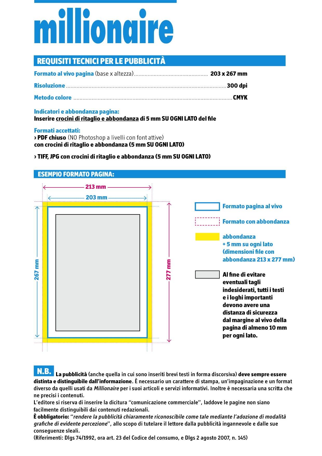 Requisiti tecnici formato pagina Millionaire